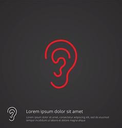 Ear outline symbol red on dark background logo vector