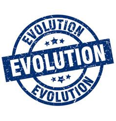 Evolution blue round grunge stamp vector