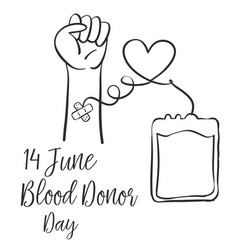Hand draw design blood donor day vector