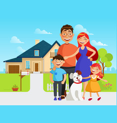 happy family move into a new house flat vector image vector image