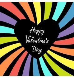 Heart with rainbow colorful sunburst happy vector
