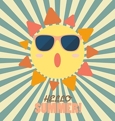 Hello Summer with happy sun on sunburst pattern vector image