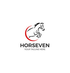 Jumping horse logo template vector