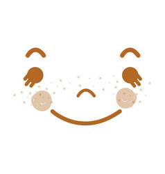Kawaii funny face with cheeks and eyes vector