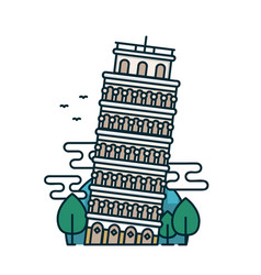 leaning tower of pisa trees vector image