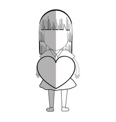 Line pretty girl with heart in the hand and casual vector