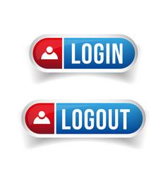Login Logout button set vector image vector image