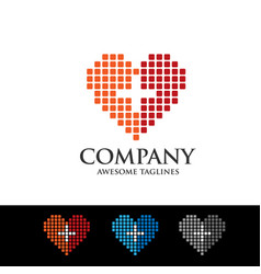 Medical and health care icons with pixel love logo vector