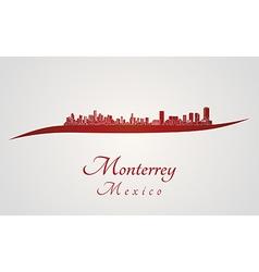 Monterrey skyline in red vector image vector image