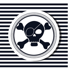 Nautical frame with pirate skull vector
