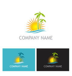 palm tree sunset beach logo vector image vector image