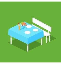 Picnic isometric table with dishes vector