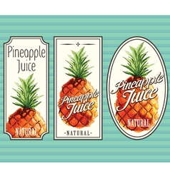 Pineapple juice labels set vector image vector image