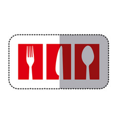 Red symbol cutlery food icon vector