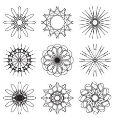 Set of contour spirographic symbols vector