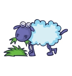 Sheep eating grass cartoon vector