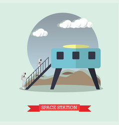 Space station concept in flat vector