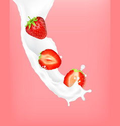 strawberry in a milk splash vector image