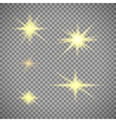 Transparent background gold star light vector