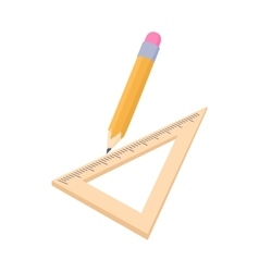 Triangular ruler and pencil icon cartoon style vector