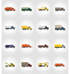 truck flat icons 17 vector image vector image