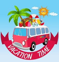 Vacation theme with van and summer objects vector