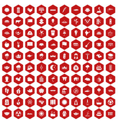 100 lotus icons hexagon red vector