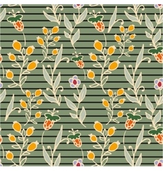 Floral seamless pattern horizontal stripes herbs vector