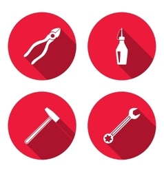 Glue hammer wrench key pliers icon repair fix vector