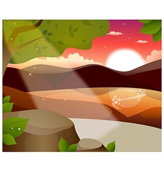 Mountain sun reflection vector