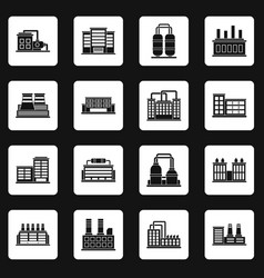 Industrial building icons set squares vector