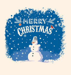 Snowman stands on the snow with festive lettering vector
