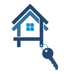 Silhouette of the house with a key vector