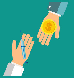 Buying syringe for money coin pharmacy store vector