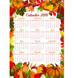 Autumn harvest fall 2018 calendar vector