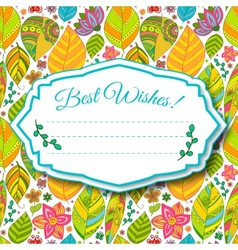 Colorful floral background with leaves and flowers vector