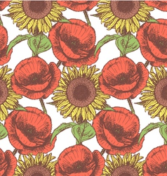 Sunflower poppy vector