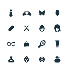 Beauty glamour icons set vector