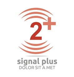 Logo signal number 2 plus red figure wireless vector
