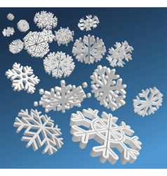 3d snowflakes vector