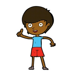 comic cartoon boy giving thumbs up symbol vector image