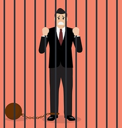 Businessman with weight in prison vector image