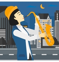 Woman playing saxophone vector