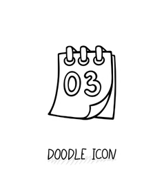 Doodle calendar icon tear-off calendar vector