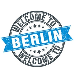 Welcome to berlin blue round vintage stamp vector