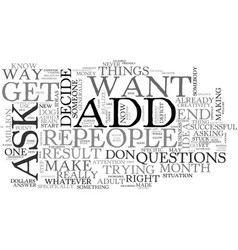 Adult add who do you trust text word cloud concept vector