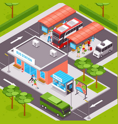 Bus station isometric vector