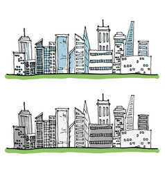 cartoon hand drawing city with color on white vector image