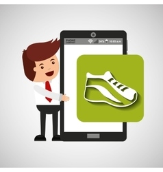 cartoon man smartphone app running vector image