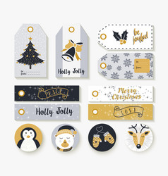 christmas set of vintage animal labels and tags vector image vector image